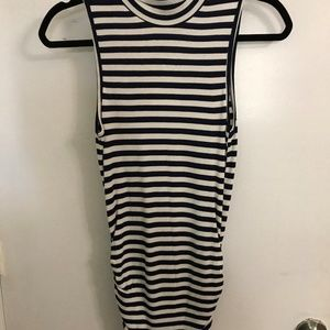 Black and white stripe sleeveless tunic